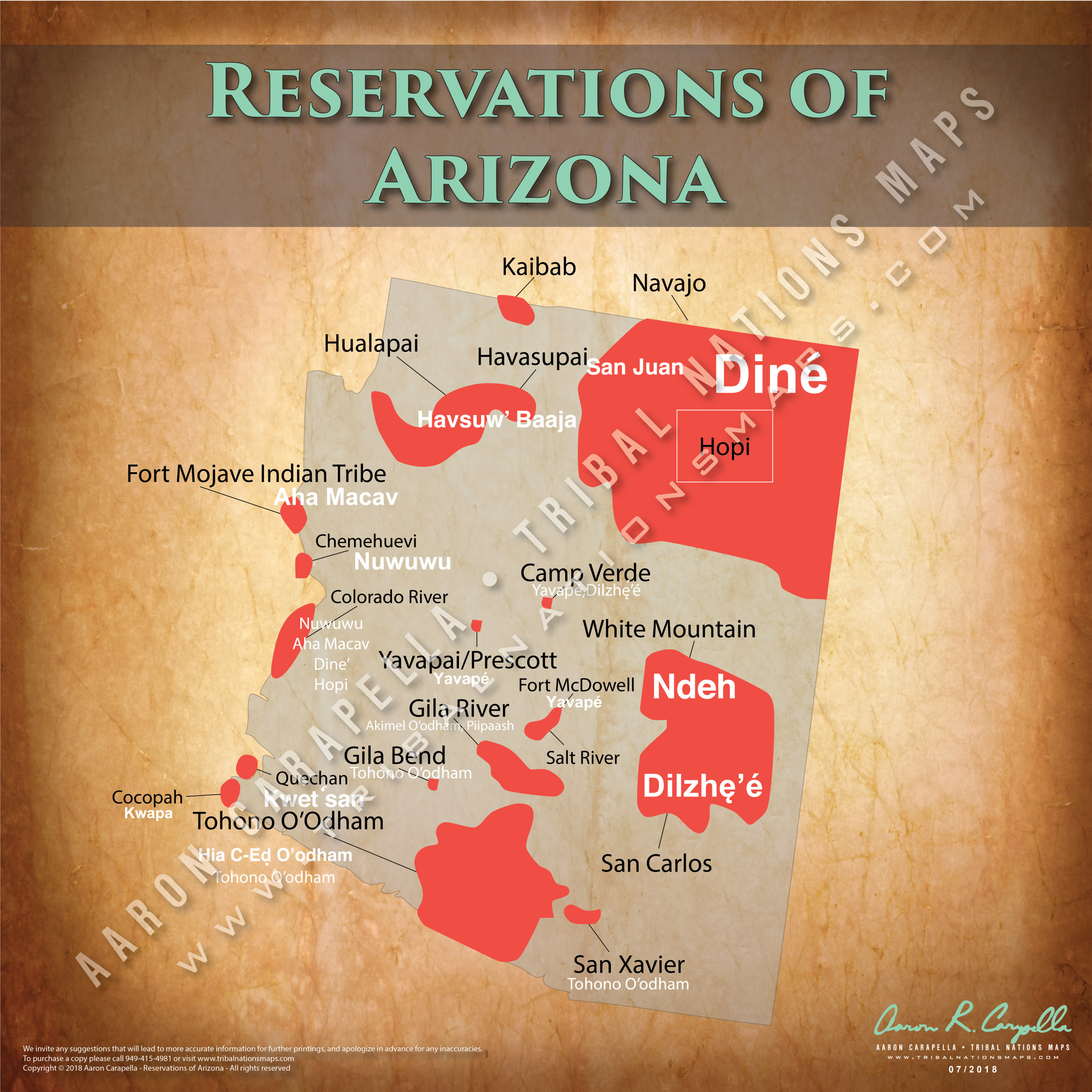 Map Of Arizona Indian Tribes.Reservations Of Arizona 22 X22