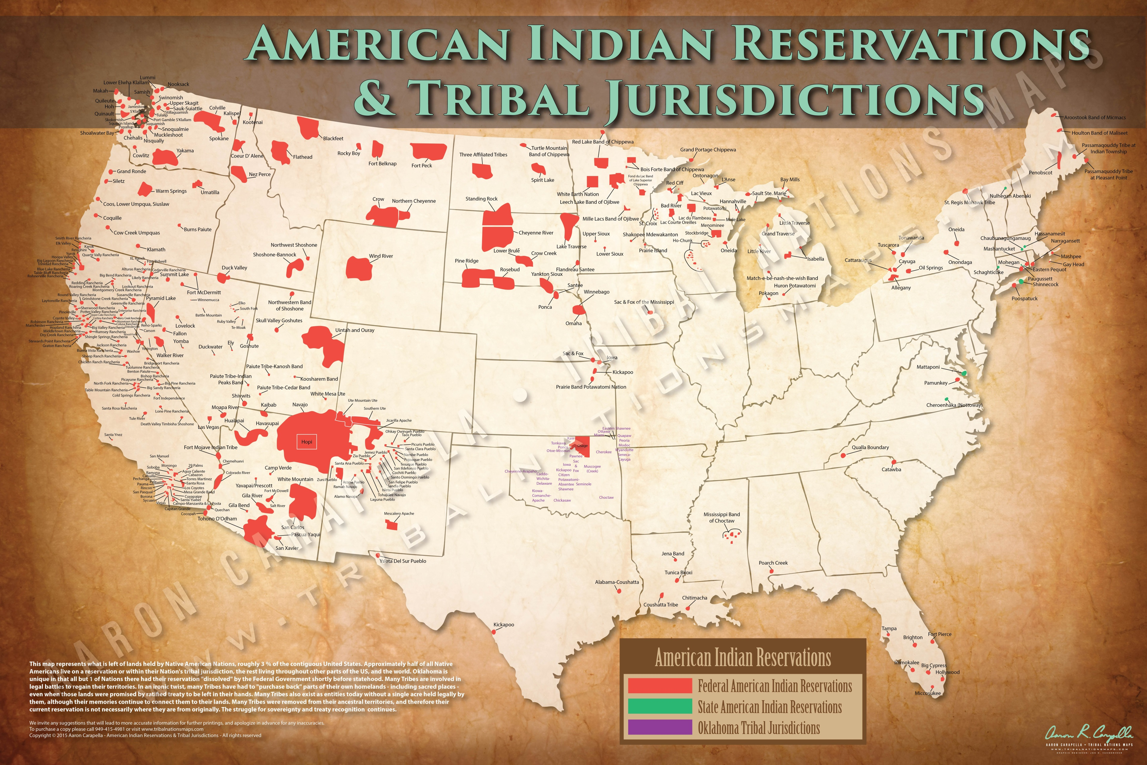 American Indian Reservations Map w/ Reservation Names - 24